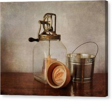 Vintage Butter Churn And Mold Canvas Print