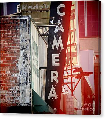 Vintage Camera Sign Canvas Print by Nina Prommer