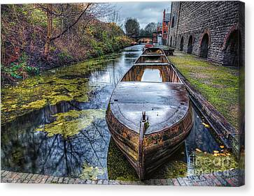 Vintage Canal Boat Canvas Print by Adrian Evans