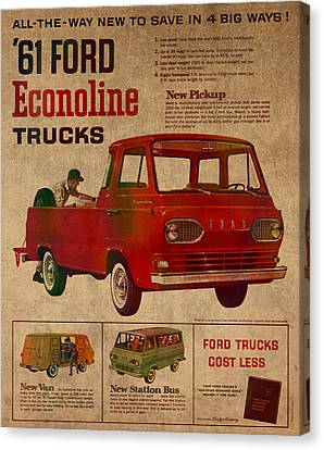 Vintage Car Advertisement 1961 Ford Econoline Truck Ad Poster On Worn Faded Paper Canvas Print