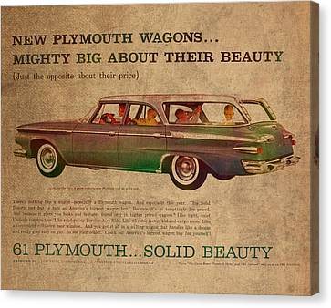Wagon Canvas Print - Vintage Car Advertisement 1961 Plymouth Wagon Ad Poster On Worn Faded Paper by Design Turnpike