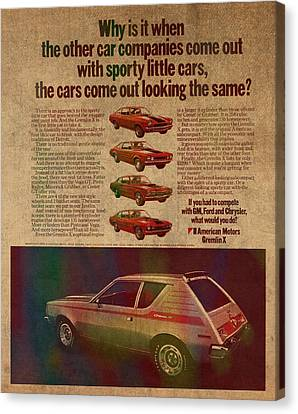 Vintage Car Advertisement American Motors Gremlin Ad Poster On Worn Faded Paper Canvas Print by Design Turnpike