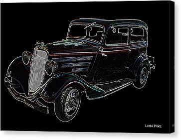 Vintage Car Art Ford Neon Outline Canvas Print by Lesa Fine