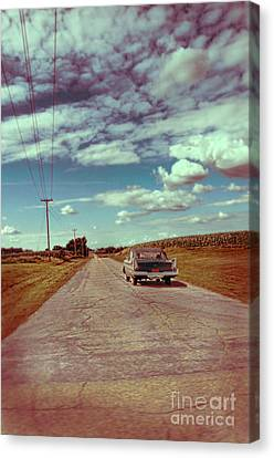 Old Country Roads Canvas Print - Vintage Car On Country Road by Jill Battaglia