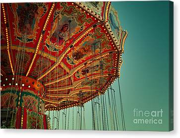 Vintage Carousel At The Octoberfest In Munich Canvas Print