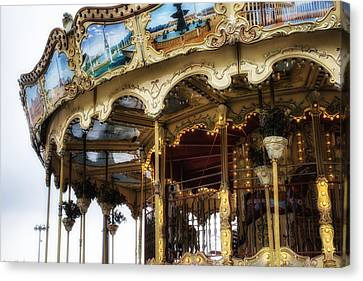 Vintage Carousel In Paris Canvas Print