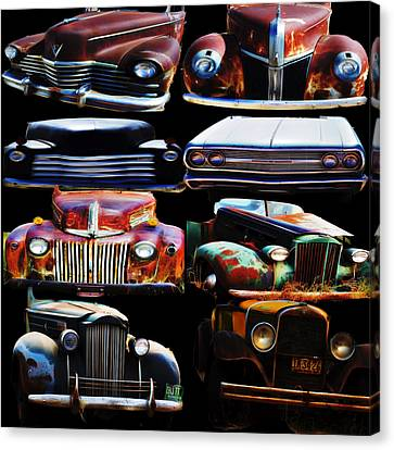 Vintage Cars Collage 2 Canvas Print by Cathy Anderson