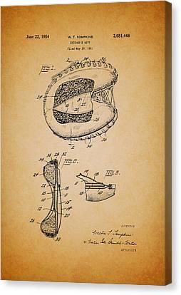 Vintage Catcher's Mitt Patent Canvas Print by Mountain Dreams