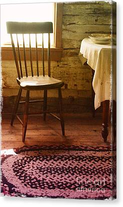 Cabin Window Canvas Print - Vintage Chair And Table by Jill Battaglia