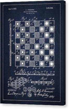 Vintage Checker And Chess Board Drawing From 1921 Canvas Print by Aged Pixel