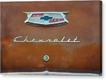 Burnt Umber Canvas Print - Vintage Chevrolet Emblem On Trunk by Cat Whipple