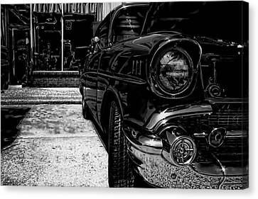 Vintage Chevy Car Art Alley Cat Bw Canvas Print
