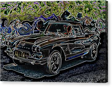 Vintage Chevy Corvette Black Neon Automotive Artwork Canvas Print