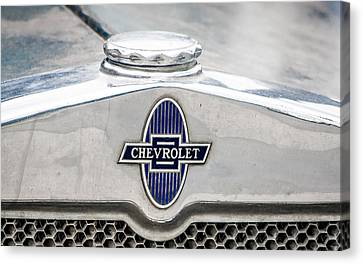Canvas Print featuring the photograph Vintage Chevy Logo by Dawn Romine