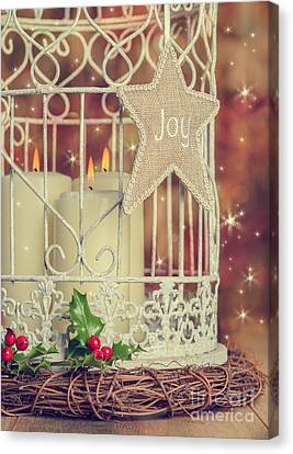 Vintage Christmas Candles Canvas Print by Amanda Elwell