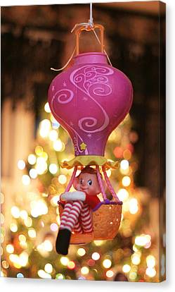 Canvas Print featuring the photograph Vintage Christmas Elf Hot Air Balloon Ride by Barbara West