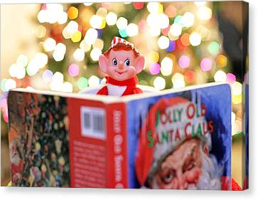 Canvas Print featuring the photograph Vintage Christmas Elf Reading A Book by Barbara West