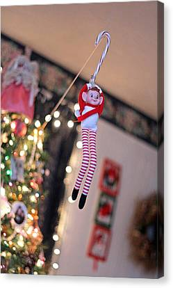 Canvas Print featuring the photograph Vintage Christmas Elf Zipline by Barbara West