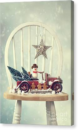 Vintage Christmas Truck Canvas Print