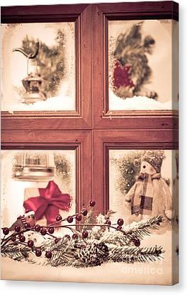Vintage Christmas Window Canvas Print by Amanda Elwell