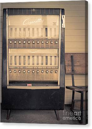 Vintage Cigarette Machine Canvas Print by Edward Fielding