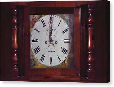Swiss Canvas Print - Vintage Clock Wallclock Swiss Time Period Minute Second Hour Calculate Border Frame Wooden Case Wood by Navin Joshi