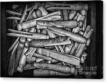 Laundry Mat Canvas Print - Vintage Clothepins In Box by Paul Ward