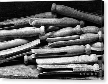 Vintage Clothespins Canvas Print by Paul Ward