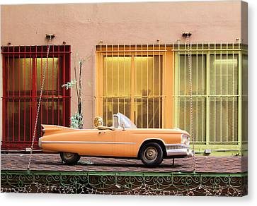 Pleasure Driving Canvas Print - Vintage Convertible On The Roof by Viktor Savchenko