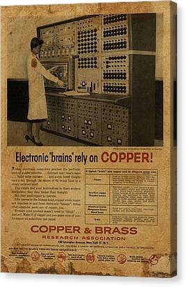 Vintage Copper And Brass Retro Magazine Electronics Advertisement Canvas Print by Design Turnpike