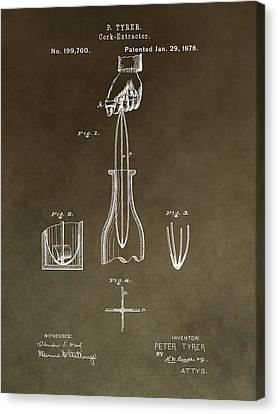 Vintage Cork Extractor Patent Canvas Print