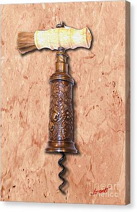 Vintage Corkscrew Painting 6 Canvas Print by Jon Neidert