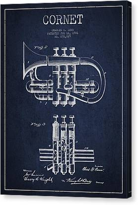 Cornet Patent Drawing From 1901 - Blue Canvas Print by Aged Pixel
