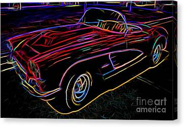 Vintage Corvette - Classic Car - Neon  Canvas Print by Gary Whitton