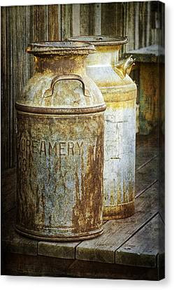 Vintage Creamery Cans In 1880 Town In South Dakota Canvas Print