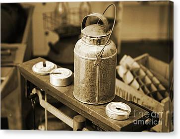 Canvas Print featuring the photograph Vintage Creamery In Sepia by Lincoln Rogers