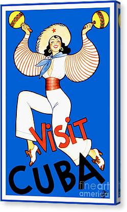 Vintage Cuba Travel Poster Canvas Print by Jon Neidert