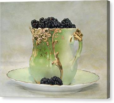 Vintage Cup O Berries Canvas Print by Kathleen Holley
