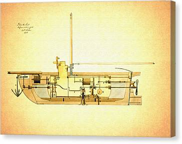 Vintage Design For A Submarine - 1806 Canvas Print by Mountain Dreams