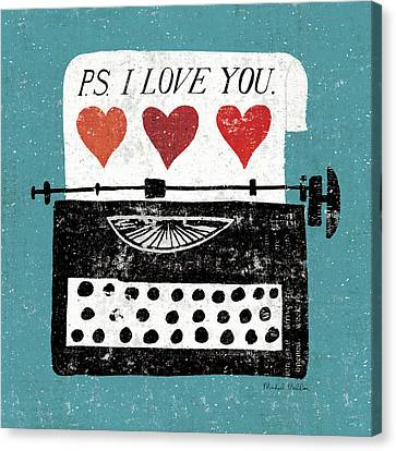 Writing Canvas Print - Vintage Desktop - Typewriter by Michael Mullan