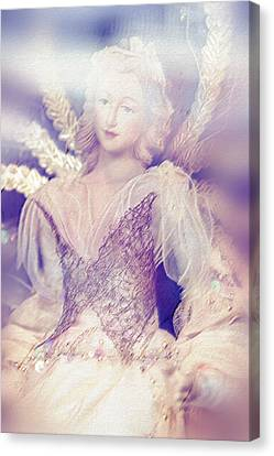 Angels Of Christmas Canvas Print - Vintage Doll by Jenny Rainbow