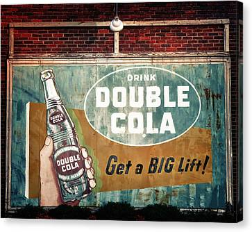 Turquoise And Rust Canvas Print - Vintage Double Cola Sign by Tony Grider