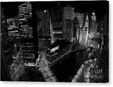 Vintage 2003  Downtown Chicago At Night Canvas Print by Linda Matlow