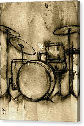 Sepia Tone Canvas Print - Vintage Drums by Pete Maier