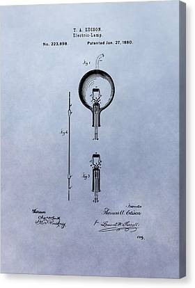 Vintage Electric Lamp Patent Thomas Edison Canvas Print