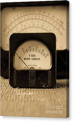 Vintage Electrical Meters Canvas Print by Edward Fielding