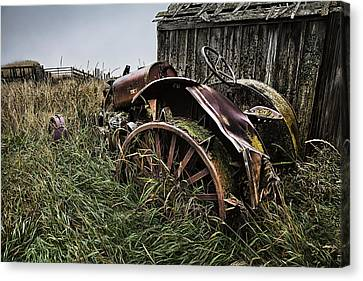 Vintage Farm Tractor Color Canvas Print by Theresa Tahara