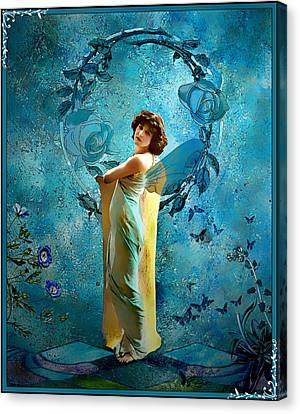 Canvas Print featuring the mixed media Vintage Femme IIi by Mary Morawska