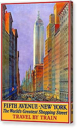 Vintage Fifth Avenue New York Travel Poster Canvas Print