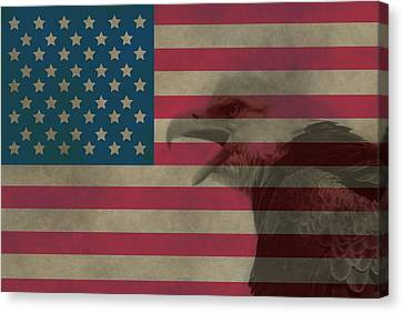Vintage Flag With Bald Eagle Canvas Print by Dan Sproul
